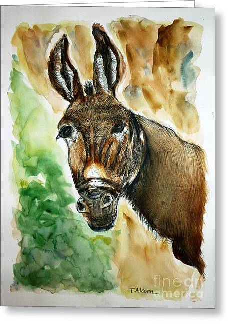 Donkey Greeting Card by Therese Alcorn