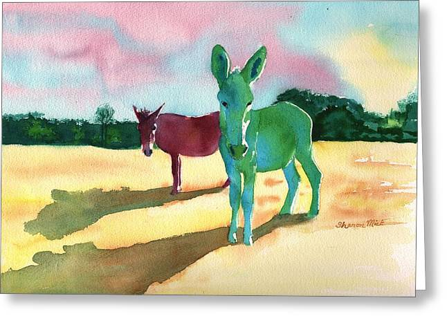 Water Color Greeting Cards - Donkeys With An Attitude Greeting Card by Sharon Mick
