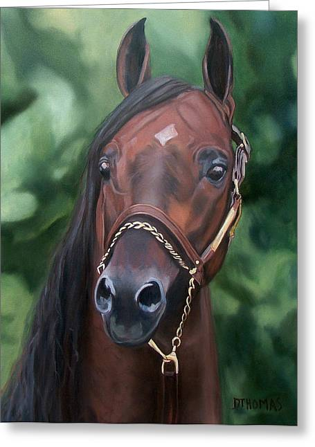 Horses Paintings Greeting Cards - Dont Worry Saddlebred Sire Greeting Card by Donna Thomas