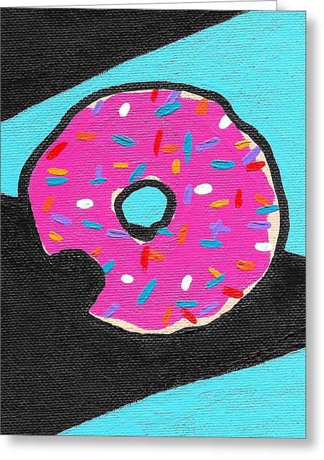 Donuts Paintings Greeting Cards - Donut Bite Greeting Card by Jera Sky