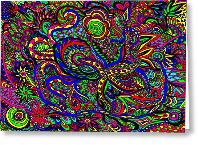Most Sold Digital Art Mixed Media Greeting Cards - Doodle 4 Greeting Card by Karen Elzinga