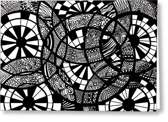 Doodle Circular  Greeting Card by Karen Elzinga