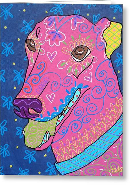 Doodle Greyhound Greeting Card by Audra Sampson