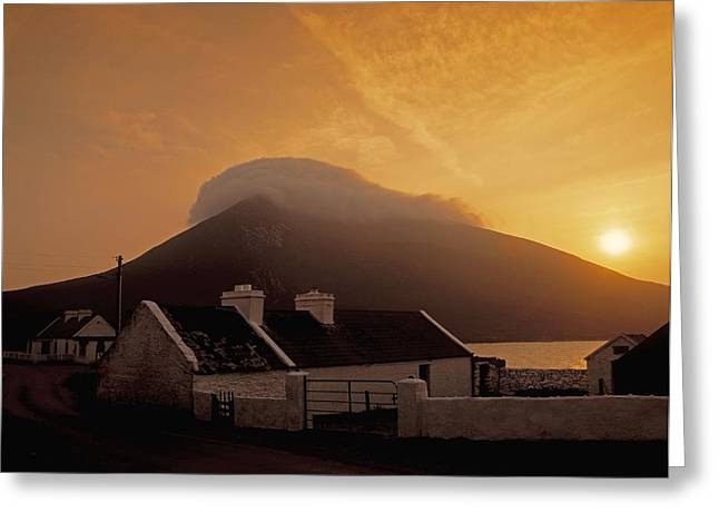 Connaught Greeting Cards - Doogort And Slievemore, Achill Island Greeting Card by The Irish Image Collection