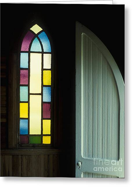 Us Open Photographs Greeting Cards - Door and Stained Glass Window Greeting Card by Will and Deni McIntyre
