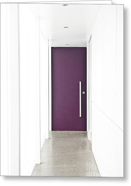 Future Office Space Greeting Cards - Door at End of Hallway Greeting Card by Jacobs Stock Photography