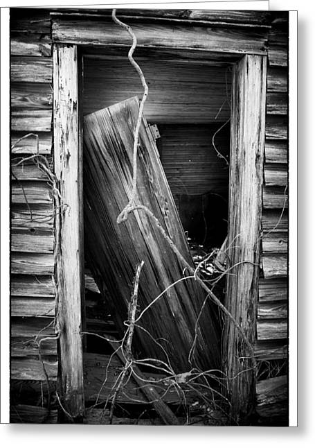 Tin Roof Greeting Cards - Door BW Greeting Card by Mark Wagoner