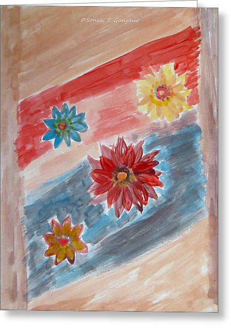 Engraving Greeting Cards - Door engraved with flowers Greeting Card by Sonali Gangane