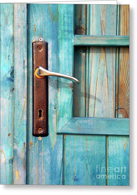 Wooden Shed Greeting Cards - Door Handle Greeting Card by Carlos Caetano