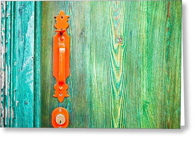 Painted Wood Greeting Cards - Door handle Greeting Card by Tom Gowanlock