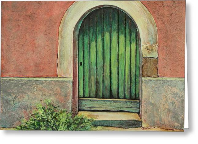 Southern France Mixed Media Greeting Cards - Door I Greeting Card by Pamela Iris Harden