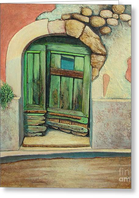 Southern France Mixed Media Greeting Cards - Door II Greeting Card by Pamela Iris Harden