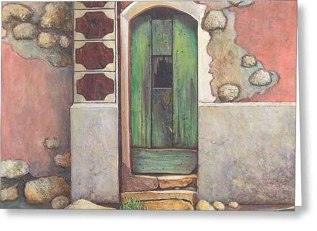 Southern France Mixed Media Greeting Cards - Door III Greeting Card by Pamela Iris Harden