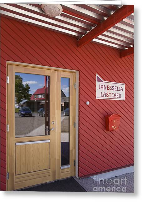 Metal Sheet Greeting Cards - Door In Red Building And Reflection Greeting Card by Architect Priit Matsi/ Photo Jaak Nilson