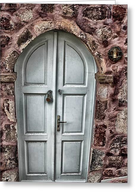 Hdr Effects Greeting Cards - Door in Santorini Greeting Card by Tom Prendergast