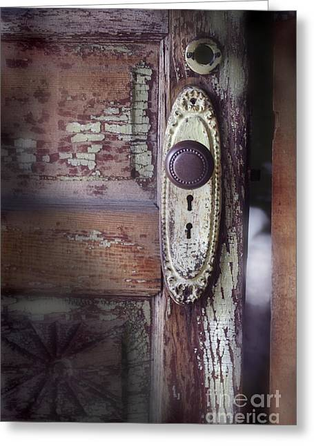 Door Knob Greeting Cards - Door Knob And Peeling Paint Greeting Card by Jill Battaglia