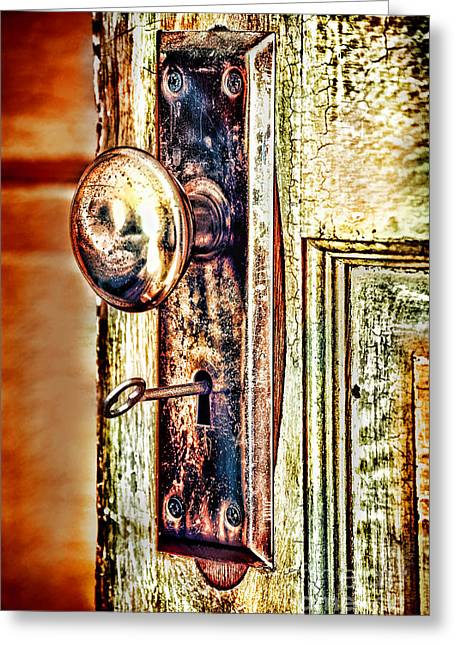 Door Photographs Greeting Cards - Door Knob With Key Greeting Card by HD Connelly