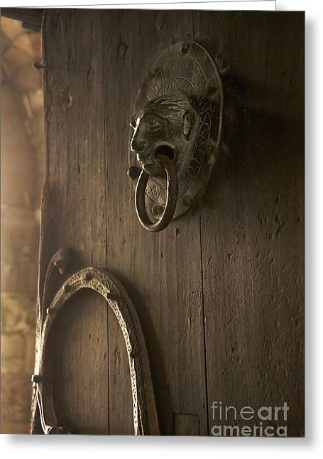Sacred Religious Art Greeting Cards - Door knocker of the Basilica Saint-Julien. Brioude. Haute Loire. Auvergne. France. Greeting Card by Bernard Jaubert