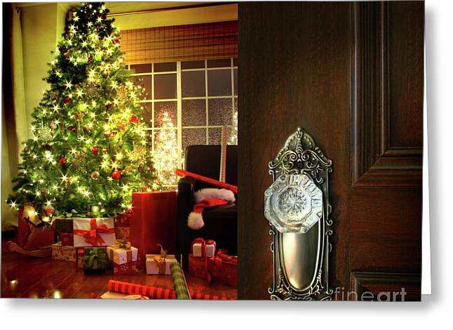 Christmas Doors Greeting Cards - Door opening into a Christmas living room Greeting Card by Sandra Cunningham