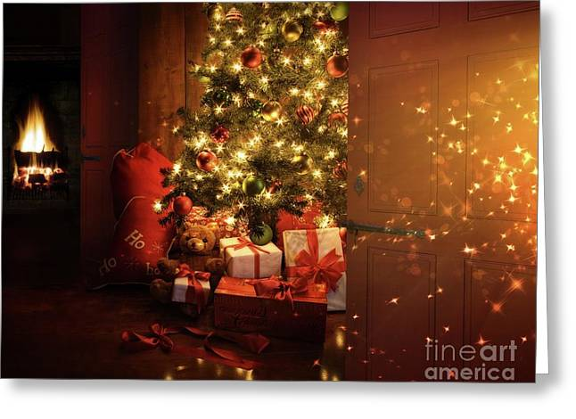 Christmas Eve Greeting Cards - Door opening onto nostalgic Christmas scene   Greeting Card by Sandra Cunningham