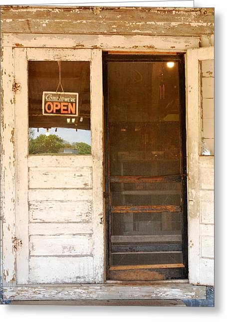 Door To A Country Store Greeting Card by Connie Fox