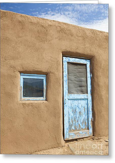 Adobe Greeting Cards - Door to An Adobe Building Greeting Card by Bryan Mullennix
