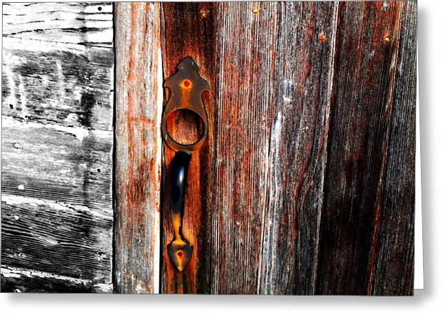 Painted Wood Greeting Cards - Door to the Past Greeting Card by Julie Hamilton
