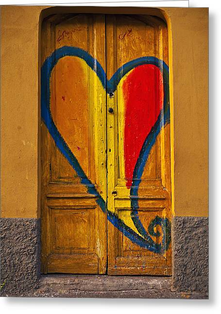 Painted Wood Greeting Cards - Door With Heart Greeting Card by Joana Kruse