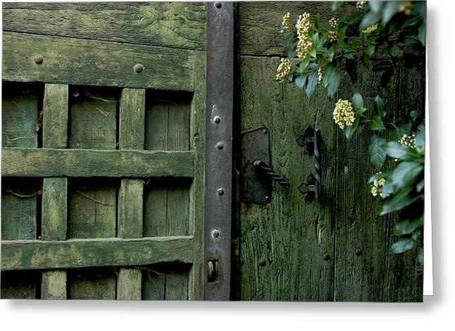 Padlock Greeting Cards - Door with padlock Greeting Card by Bernard Jaubert