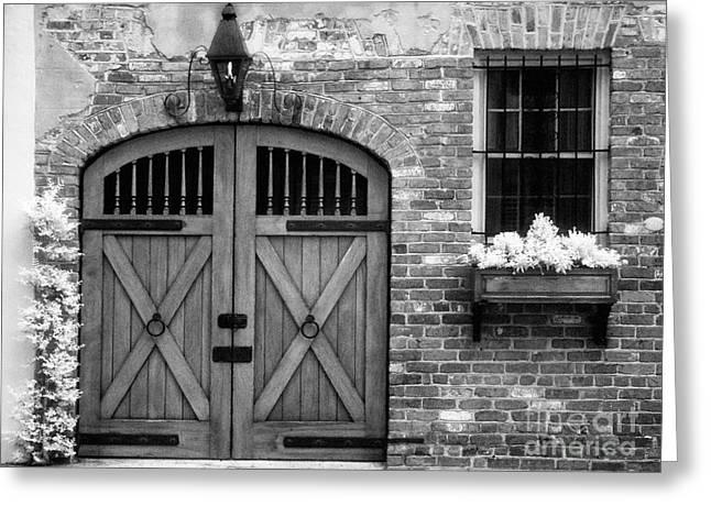 Jeff Holbrook Greeting Cards - Doors Bricks and Window Greeting Card by Jeff Holbrook