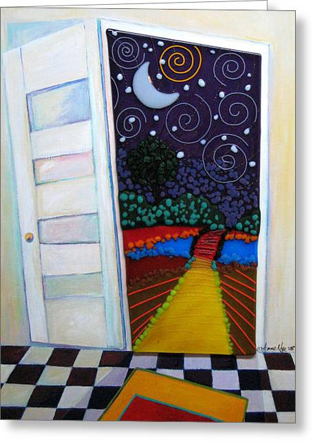 Destiny Mixed Media Greeting Cards - Doorway To Tomorrow Greeting Card by Anne Nye
