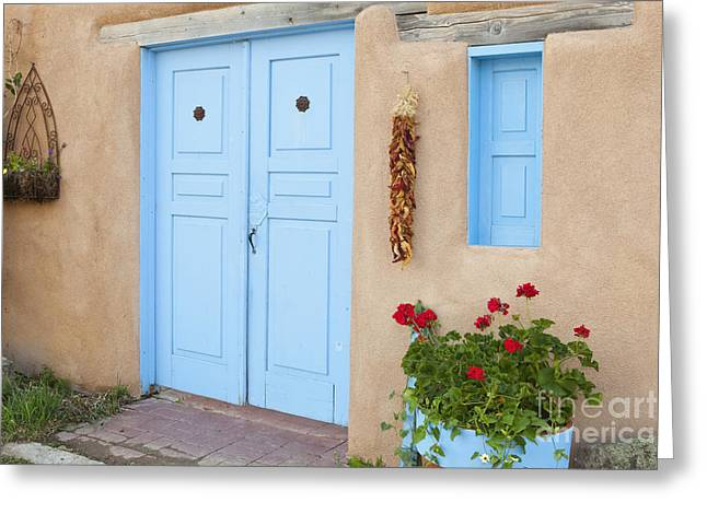 Taos Greeting Cards - Doorway With Chili Peppers Greeting Card by Bryan Mullennix