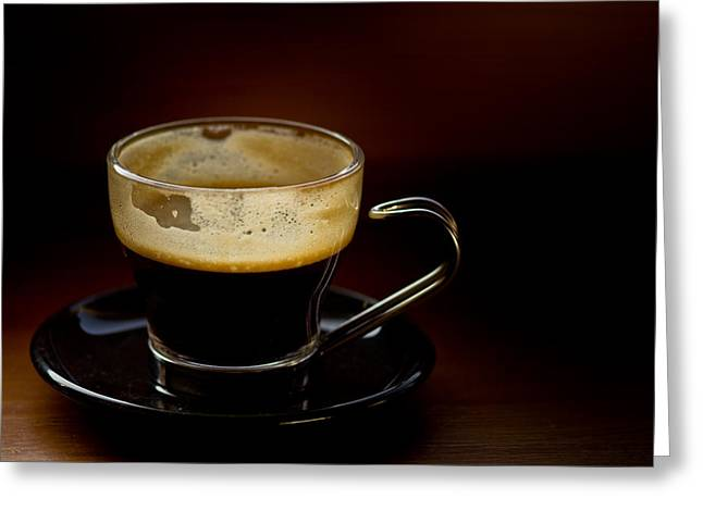 Espresso Greeting Cards - Doppio Minus One Greeting Card by Justin Albrecht