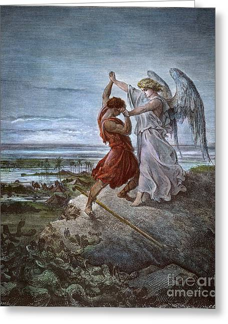Dore Greeting Cards - DorÉ: Jacob & Angel Greeting Card by Granger