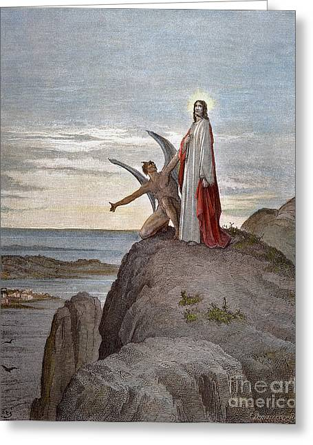 Dore Greeting Cards - DorÉ: Temptation Of Jesus Greeting Card by Granger