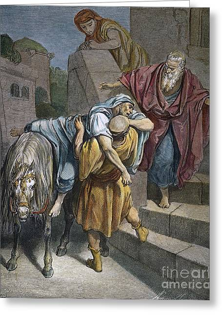 Parable Greeting Cards - Dore: Good Samaritan Greeting Card by Granger