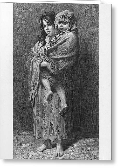Dore Greeting Cards - DORE: HOMELESS, c1869 Greeting Card by Granger