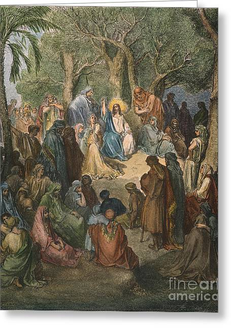 Jesus Sermon Greeting Cards - Dore: Sermon On The Mount Greeting Card by Granger