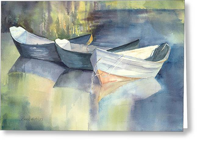 Maine Spring Paintings Greeting Cards - Dories I Greeting Card by Bonnie Ross
