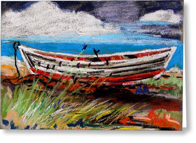 Sandy Beaches Drawings Greeting Cards - Dory in the Morning Greeting Card by John  Williams