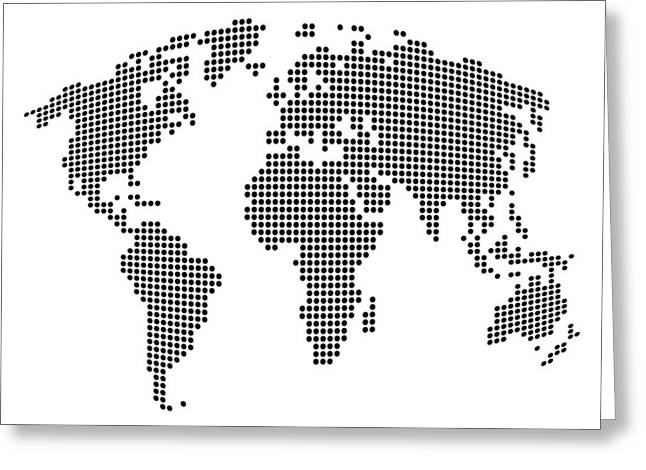 Planet Map Digital Art Greeting Cards - Dot Map of the World - black and white Greeting Card by Michael Tompsett