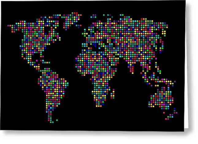 Planet Map Digital Art Greeting Cards - Dot Map of the World - multi colours Greeting Card by Michael Tompsett