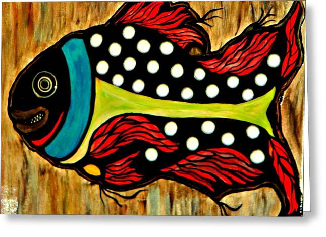 Waterlife Greeting Cards - Dotted Fish Greeting Card by Amy Carruth-Drum