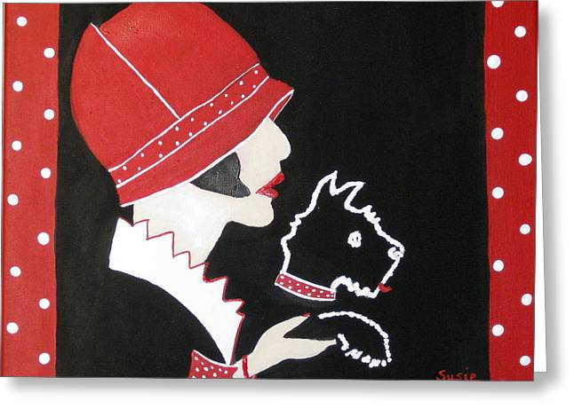 Susan Mclean Gray Greeting Cards - Dottie with the Scottie 1 Greeting Card by Susan McLean Gray