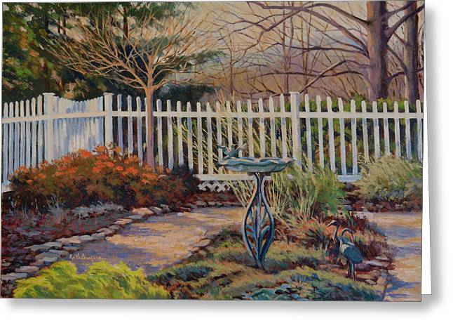 Garden Statuary Greeting Cards - Dottis Garden Winter Greeting Card by Keith Burgess