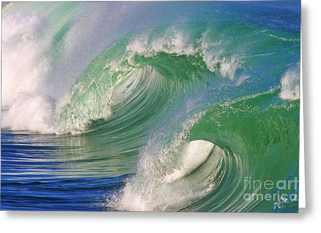 Surfing Art Greeting Cards - Double Barrel Greeting Card by Paul Topp
