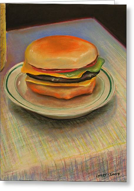Tomato Pastels Greeting Cards - Double Cheeseburger Greeting Card by GPaul Lucas
