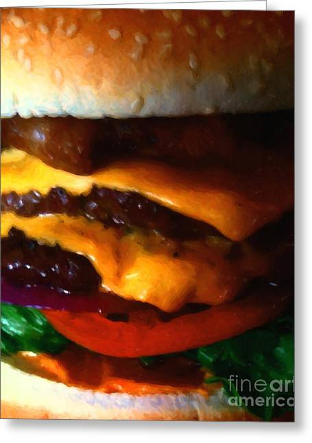 Cheeseburger Greeting Cards - Double Cheeseburger With Bacon - Painterly Greeting Card by Wingsdomain Art and Photography