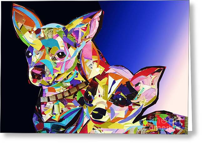 Chihuahua Abstract Art Greeting Cards - Double Chiwawa Greeting Card by Julie Hiskett