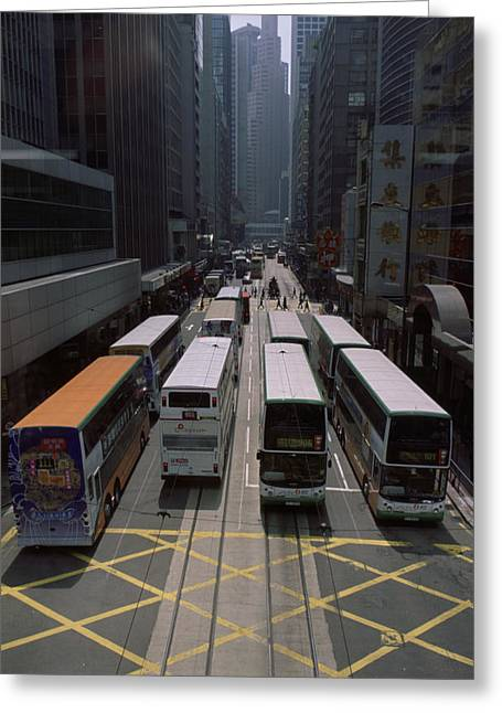 Sight See Greeting Cards - Double Decker Buses In The Streets Greeting Card by Justin Guariglia